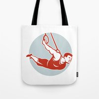 crossfit Tote Bags featuring Crossfit  Athlete muscle-up Ring Retro by patrimonio