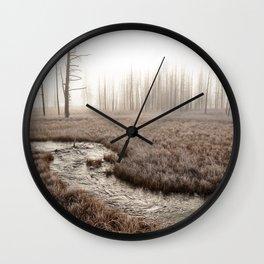 Yellowstone National Park- Foggy morning at Tangled Creek Wall Clock