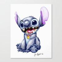 stitch Canvas Prints featuring Stitch by J Spiggle