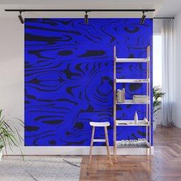 Juicy flowing spots of blue lines on black. Wall Mural