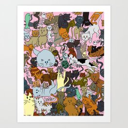Chaotic Kitties Art Print
