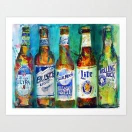 Miller LIte, Busch light, Blue Moon Lite Art Print