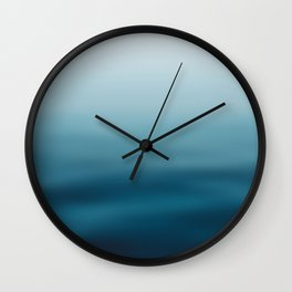 blue white gradient - water color, abstract ocean blur Wall Clock