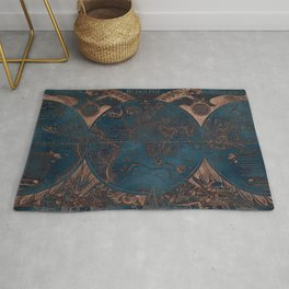 Rose gold and cobalt blue antique world map with sail ships Rug