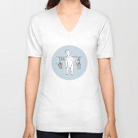 polar bear V-neck T-shirts featuring Polar bear by Madmi