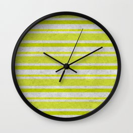 Chartreuse and gray grunge horizontal stripes Wall Clock