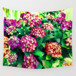 Garden Hydrangea - Raspberry Pink and Lavender Wall Tapestry