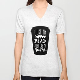 Black Coffee, Black Metal Unisex V-Neck