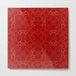Red Mandala Pattern Metal Print