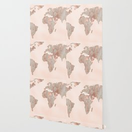 Rosegold Marble Map of the World Wallpaper
