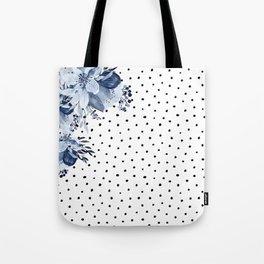 Boho Blue Flowers and Polka Dots Tote Bag