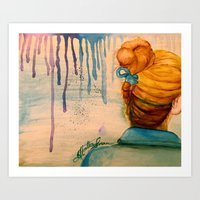 Blonde Girl With Upside Down Braid in Abstract Dreams Art Print