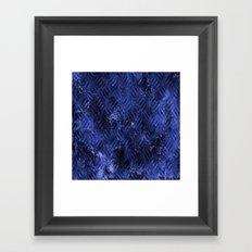 Bright Blue Imprinted Metal Look Framed Art Print