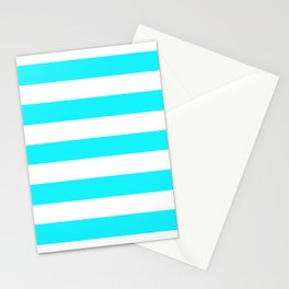 Lotion blue - solid color - white stripes pattern Stationery Cards