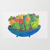 succulents Area & Throw Rugs featuring Succulents by Cat Coquillette