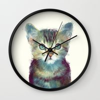 kittens Wall Clocks featuring Cat // Aware by Amy Hamilton