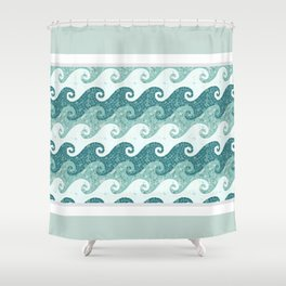 Sea waves of blue, green and azure water Shower Curtain