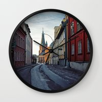 oslo Wall Clocks featuring Oslo street by Lauren Cassidy