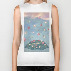 I Wished for a Rose Rain for You Biker Tank
