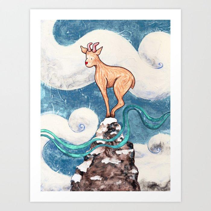 Winter Goat Art Print
