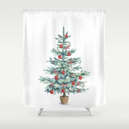 Christmas tree with red balls Shower Curtain