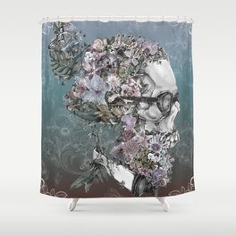hipster floral skull 3 Shower Curtain