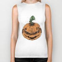 pumpkin Biker Tanks featuring Pumpkin by Kape