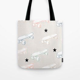 Colorful skateboard print with black stars Tote Bag