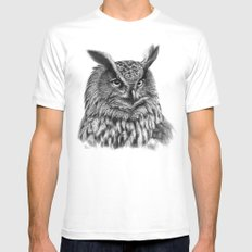 Eurasian Eagle Owl White MEDIUM Mens Fitted Tee