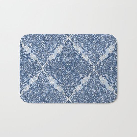 Denim Blue Lace Pencil Doodle Bath Mat
