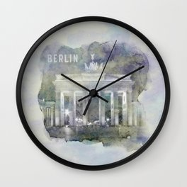 BERLIN Brandenburg Gate | watercolor Wall Clock