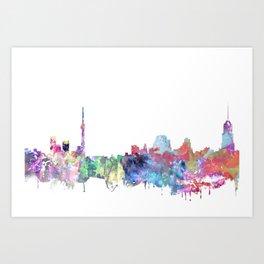 Chicago print, Watercolor poster, Wall art, Illinois, Travel ,City prints Art Print