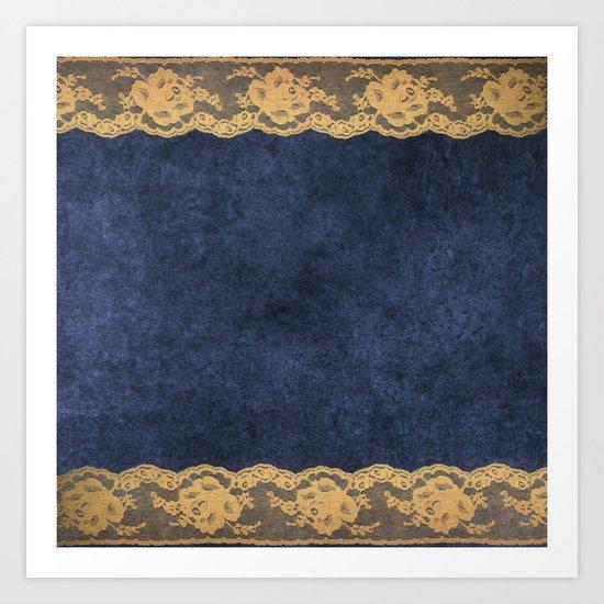 Blue Lace Velvet 02 Art Print