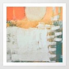 abstract, orange and green Art Print
