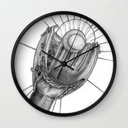 Baseball player b&w Wall Clock