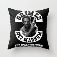 rick grimes Throw Pillows featuring Rick Grimes & .357 Magnum by SwanniePhotoArt