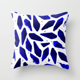 Cobalt Blue Ink Blots Throw Pillow