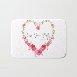 Love Never Fails Floral Heart Bath Mat
