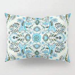 Modern Folk in Aqua and Umber Pillow Sham