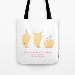 Adho Mukha Vrksasana Chicken Yoga Tote Bag