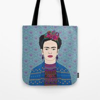 frida kahlo Tote Bags featuring Frida Kahlo by Bianca Green