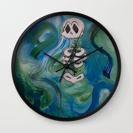 Blue Skelly Dude Wall Clock
