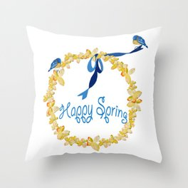 Bluebirds and Blossoms Throw Pillow