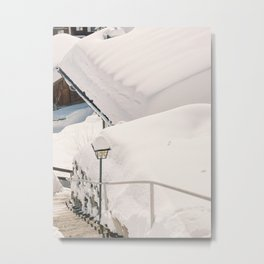 Chalet Covered in White Snow   Switzerland Alps Houses Rooftop Photography   Swiss Winter Mountain Ski Vacation Metal Print