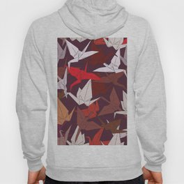 Japanese Origami paper cranes symbol of happiness, luck and longevity, sketch Hoody