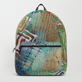 heart blue green contemporary modern Abstract painting by artist Ksavera Backpack