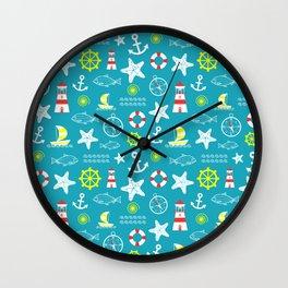 Seamless nautical pattern Wall Clock