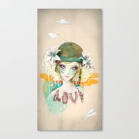 war Canvas Prints featuring War girl by Ariana Perez