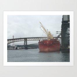 January Ship in Vancouver Port Art Print