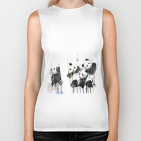 pandas Biker Tanks featuring Pandas by ellaclawley